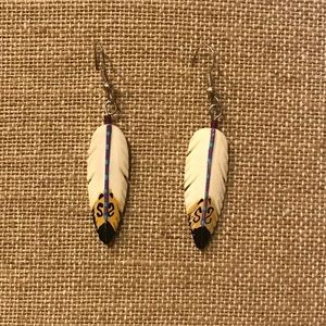 Carved Feathered Earrings